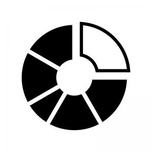 円グラフの白黒シルエットイラスト03