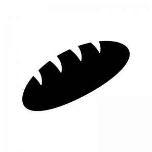 コッペパンの白黒シルエットイラスト