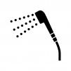 シャワーの白黒シルエットイラスト