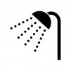 シャワーの白黒シルエットイラスト02