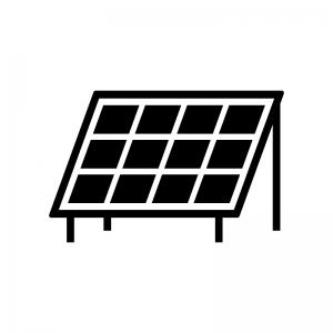 ソーラーパネルの白黒シルエットイラスト