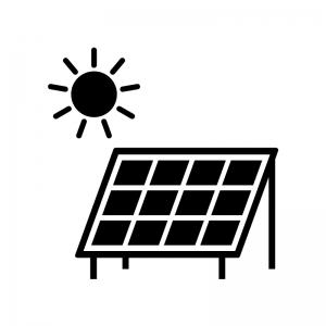 ソーラーパネルと太陽の白黒シルエットイラスト