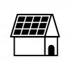 ソーラーパネルの屋根の白黒シルエットイラスト