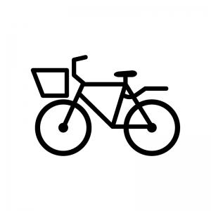 カゴ付き自転車の白黒シルエットイラスト