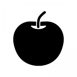 りんごの白黒シルエットイラスト