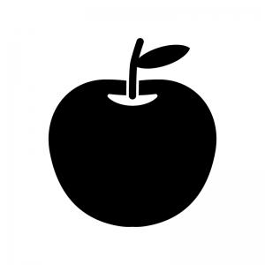 りんごの白黒シルエットイラスト02