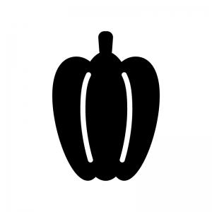 ピーマン・パプリカの白黒シルエットイラスト