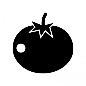トマトの白黒シルエットイラスト02