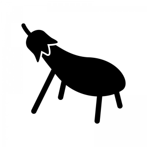 ナスの精霊馬の白黒シルエットイラスト