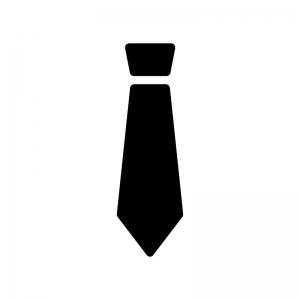 ネクタイの白黒シルエットイラスト