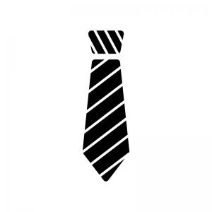 ストライプのネクタイの白黒シルエットイラスト