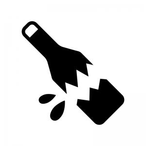 割れた瓶の白黒シルエットイラスト