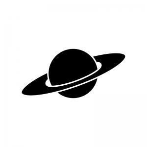 土星の白黒シルエットイラスト