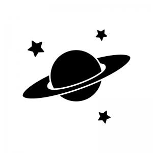 星と土星の白黒シルエットイラスト