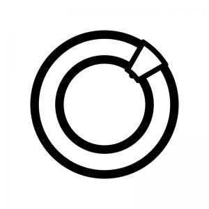 丸型蛍光灯の白黒シルエットイラスト