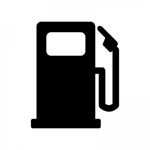 ガソリンスタンドの白黒シルエットイラスト