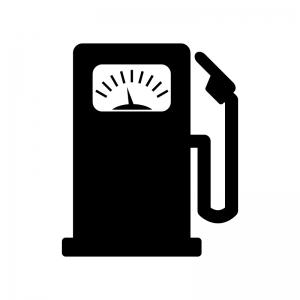 メーター付きガソリンスタンドの白黒シルエットイラスト