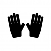 手袋の白黒シルエットイラスト