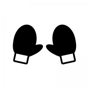 手袋の白黒シルエットイラスト02