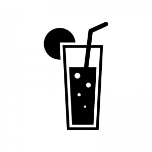 炭酸トロピカルジュースの白黒シルエットイラスト