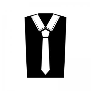 Yシャツとネクタイの白黒シルエットイラスト