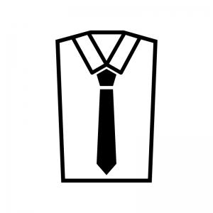 Yシャツとネクタイの白黒シルエットイラスト02