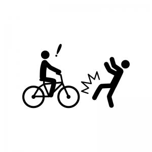 自転車の事故の白黒シルエットイラスト