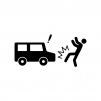 自動車の人身事故の白黒シルエットイラスト