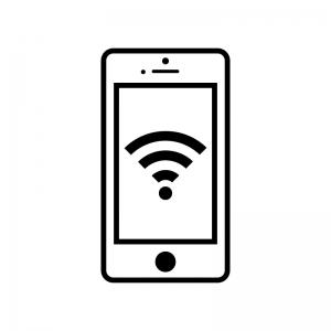 スマホとwi Fi画面のシルエット02 無料のaipng白黒シルエットイラスト
