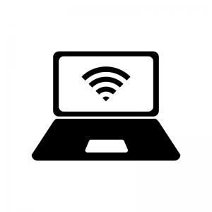 ノートPCとWi-Fi画面の白黒シルエットイラスト