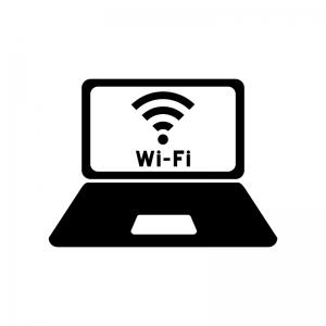 ノートPCとWi-Fi画面の白黒シルエットイラスト02