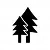 2本のツリーの白黒シルエットイラスト