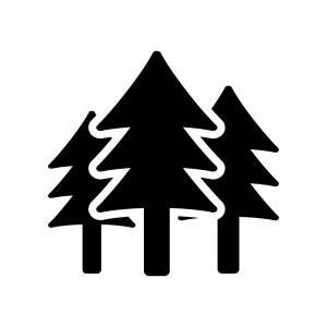 3本のツリーの白黒シルエットイラスト