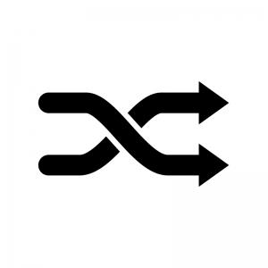 交差している矢印の白黒シルエットイラスト02