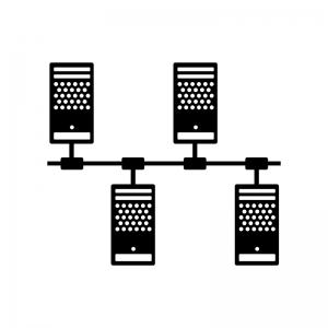 サーバーネットワークの白黒シルエットイラスト