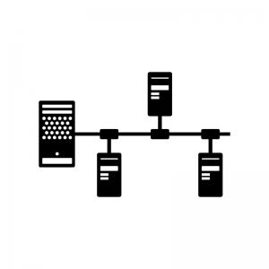 パソコンネットワークの白黒シルエットイラスト