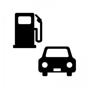 ガソリンスタンドと車の白黒シルエットイラスト