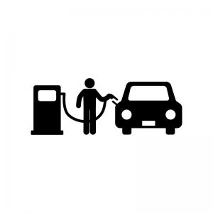 セルフガソリンスタンドの白黒シルエットイラスト