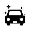 ピカピカの自動車の白黒シルエットイラスト