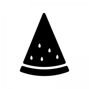小分けに切ったスイカの白黒シルエットイラスト
