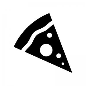 ピザの白黒シルエットイラスト