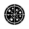 ピザ(1枚)の白黒シルエットイラスト