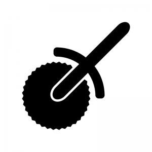 ピザカッターの白黒シルエットイラスト02