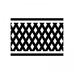 フェンスの白黒シルエットイラスト