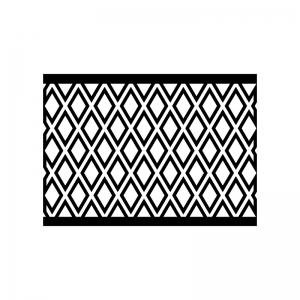 フェンスの白黒シルエットイラスト02