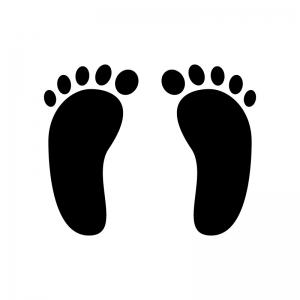 足跡の白黒シルエットイラスト