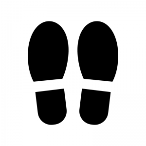 靴の足跡の白黒シルエットイラスト