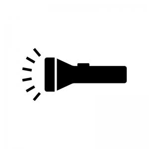 点灯した懐中電灯の白黒シルエットイラスト