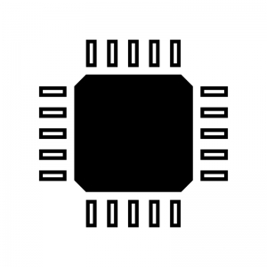 電子基板の白黒シルエットイラスト