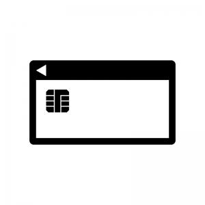 ICチップカードの白黒シルエットイラスト